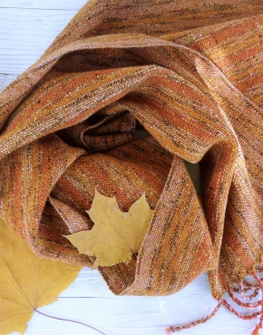 Scarf hand weaving autumn-brown - tkanye sharfy 452 290x370